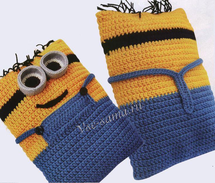 Подушка-игрушка крючком - Миньон