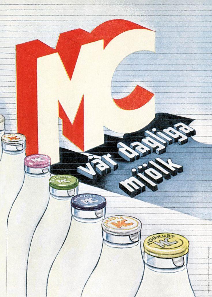 Affisch retromotiv Mjölkcentralen och Arla.