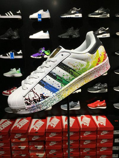 f03cc5fe92ee Genuine Adidas Originals Superstar Unisex Pride Pack Shoes D70351 White  Rainbow Paint