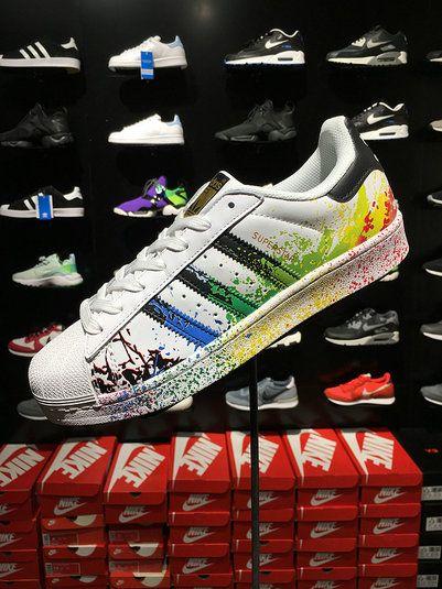 Genuine Adidas Originals Superstar Unisex Pride Pack Shoes D70351 White  Rainbow Paint c12ab6c289fe