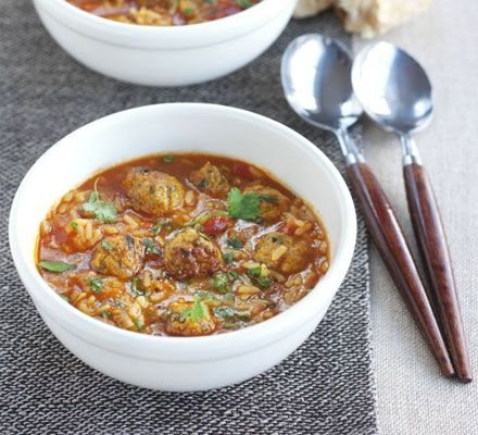 Deliciously spiced pork meatballs and rice are simmered together in this stew, saving on washing-up