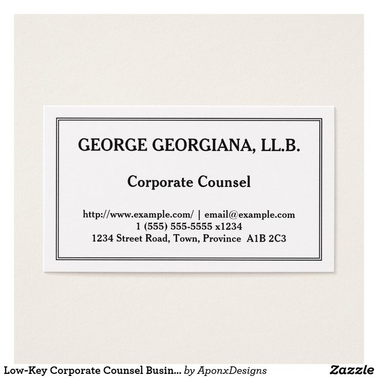Low-Key Corporate Counsel Business Card