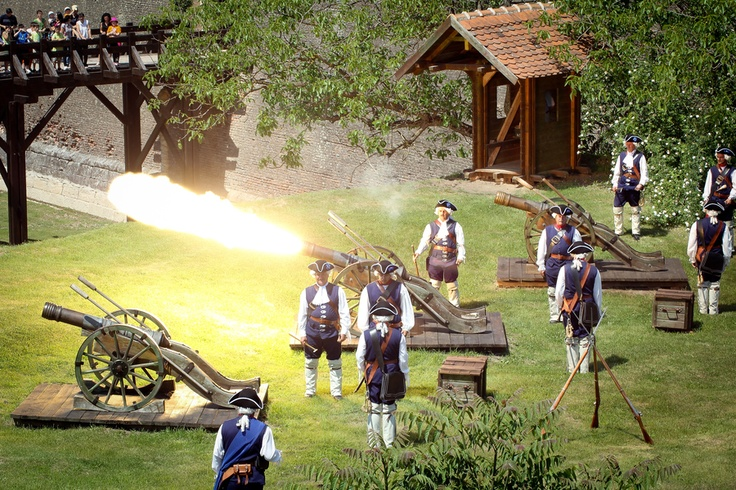 Alba Carolina Citadel Guard, in Alba Iulia, Romania, executing cannon fire drills. This a recreation of the medieval austrian army stationed in the romanian citadel, during the several centuries of Habsburgic occupation.
