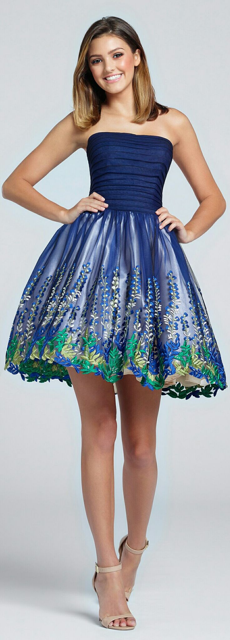 ELLIE WILDE ⚘In Navy w. Indigo Bluebell Flowers & Spring Green, Jade, & Natural Leaves and Navy Strapless Halter Top of Cocktail-Style/Prom Dress ⚘#117147.
