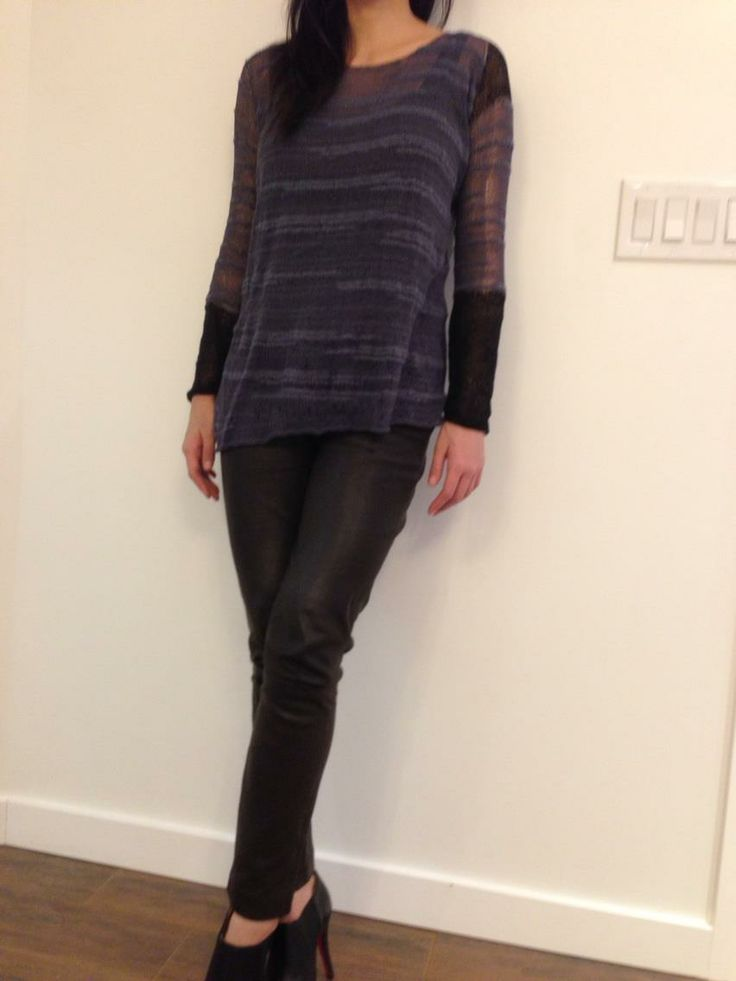 Slightly asymmetrical cotton and bamboo blend sweater