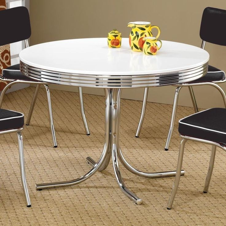 glass and metal kitchen table chairs wood legs small sets coaster retro round dining chrome white home furnishings