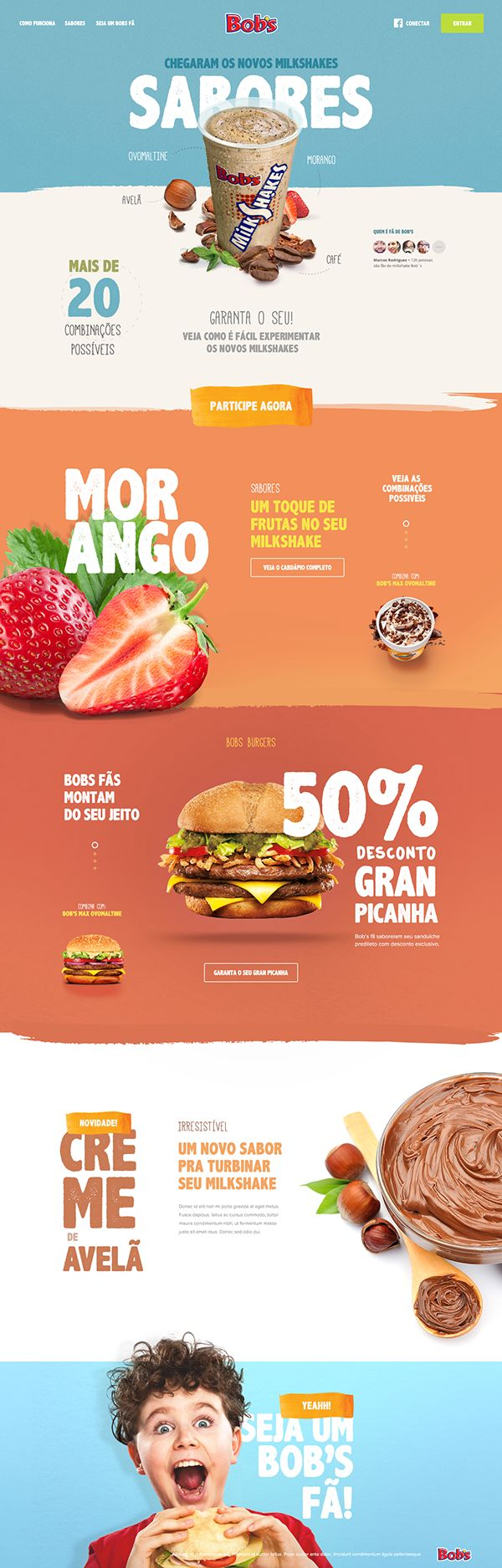 I love these bold colors and flat design used for this restaurant website layout #web #design