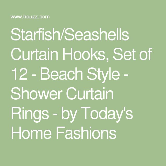 Starfish/Seashells Curtain Hooks, Set of 12 - Beach Style - Shower Curtain Rings - by Today's Home Fashions
