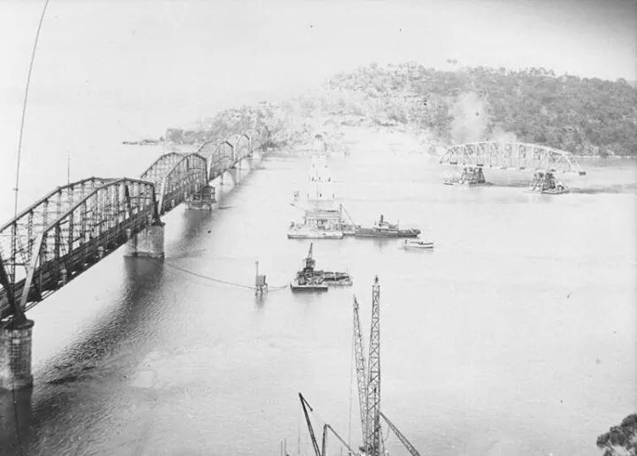 Floating a span of the second Hawkesbury River Railway Bridge into place in 1945/6.A♥W