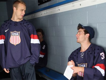 Dustin Brown and Jonathan Quick of the Los Angeles Kings are on the 2014 USA Olympic Hockey Team