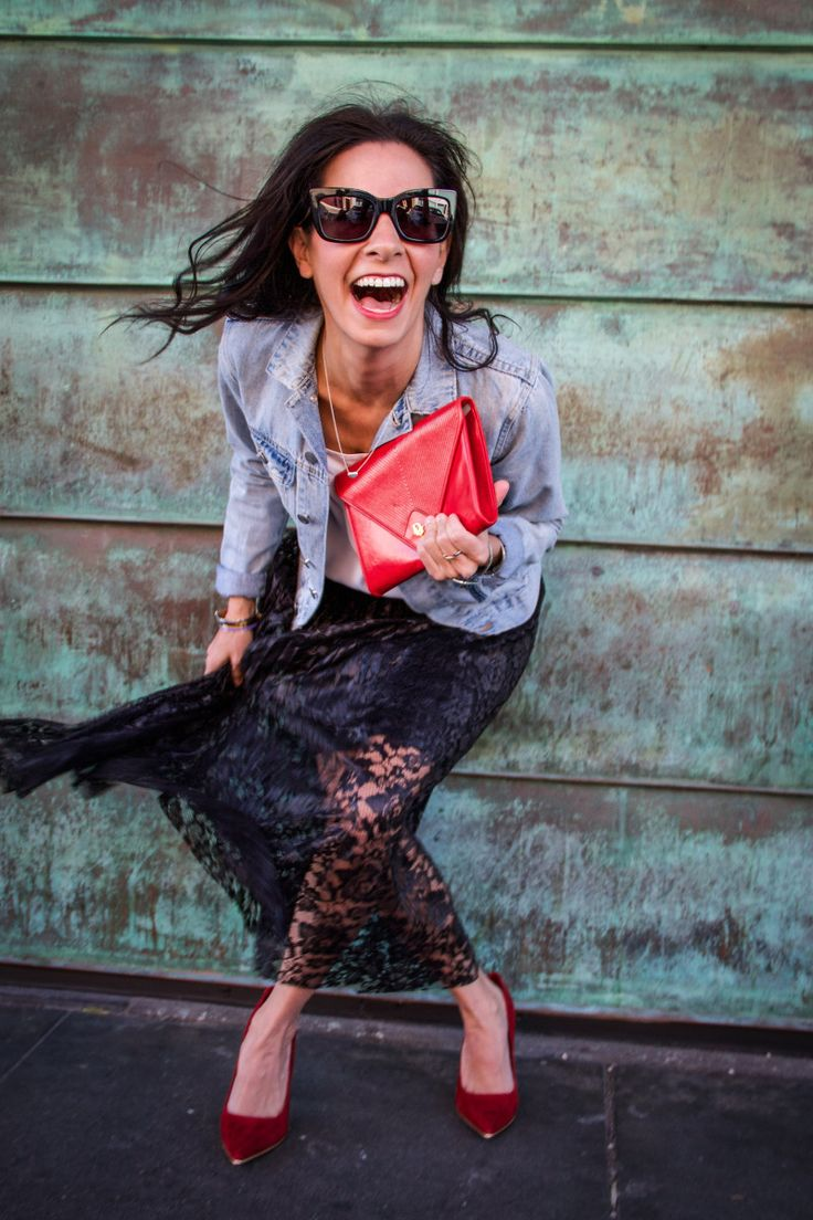 Black Lace Skirt Outfit Ideas | freepeople, aldo, Red Dior Clutch, Vince Camuto, cheap monday, Denim Jacket, celine Sunglasses,  lace, blacklace