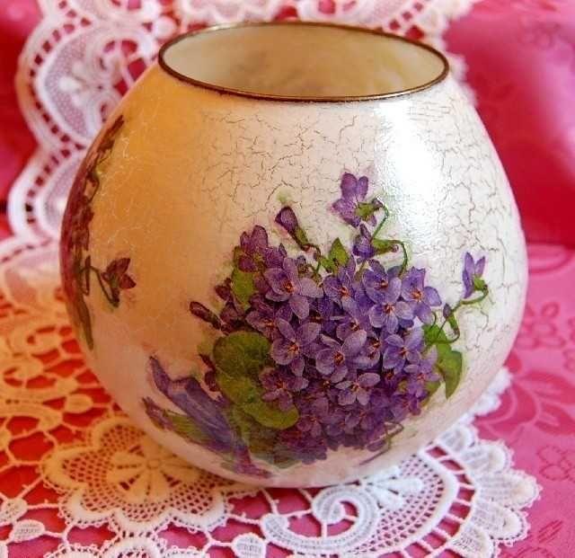Decorated glass vase. Found on charlottesdesign.com