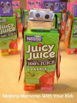 Juice box robots- made with various snacks/candy/treats (If Monkey Girl continues this Robot thing, this could be a cute idea...)