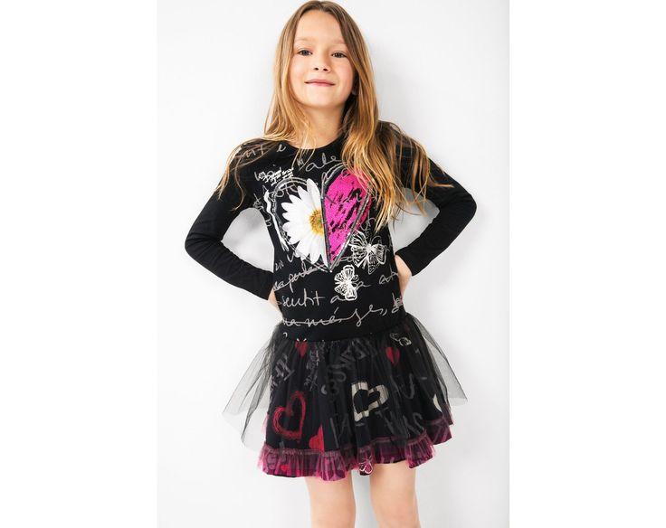 Schwarzes Kleid mit langen Ärmeln | Desigual.com