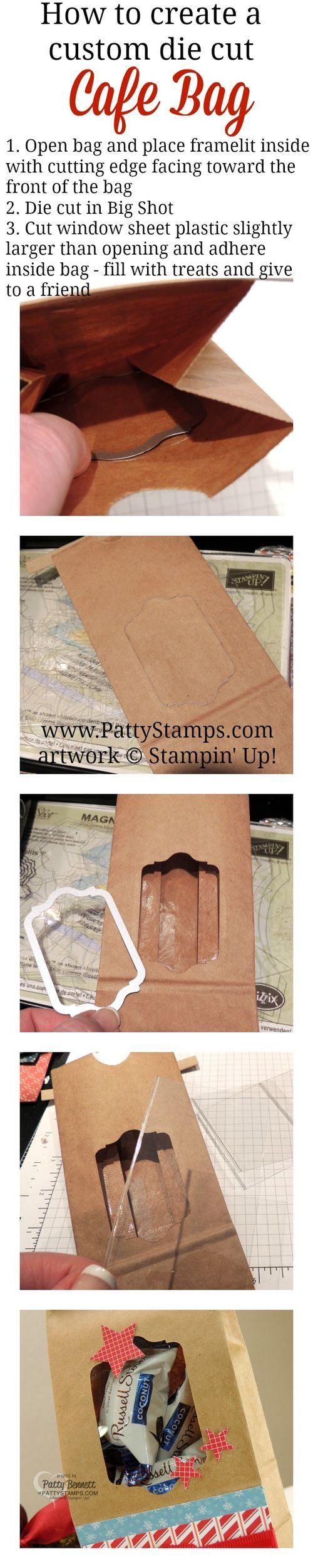 How to customize a Cafe Treat Bag with a die cut opening. Use Stampin' Up! framelits and a Big Shot to create a fun Christmas Gift Bag. by Patty Bennett #stampinup #giftbag #christmas #pattystamps