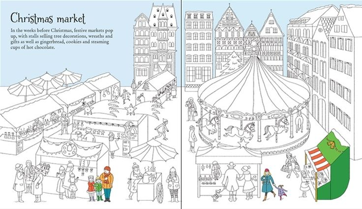 See inside Christmas Wonderland to Colour from #Usborne - a stylish #colouring #book for #children, guaranteed to keep them busy this #Christmas. #activity #gifts #presents #Christmasgiftideas #stockingfillers