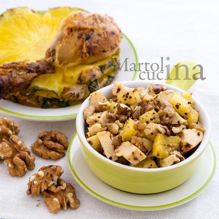 INSALATA DI POLLO LIGHT CON ANANAS E NOCI #pollo #ananas #noci #insalata #piattounico #secondo #carne #light #riciclo #avanzi