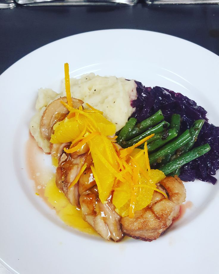 NEW: Duck A L'Orange  pan seared duck breast, garlic mashed potatoes,  red cabbage and green beans