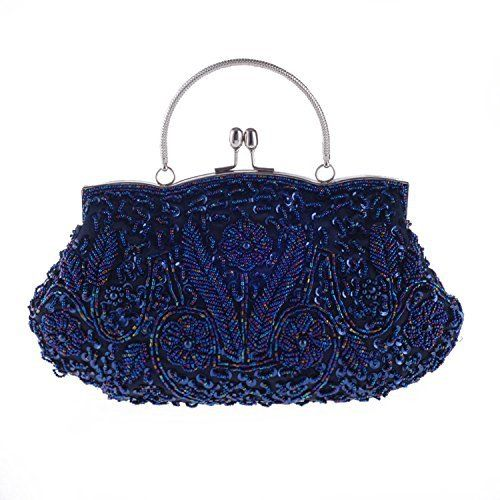 New Trending Clutch Bags: Chichitop Beaded Sequin Design Flower Evening Purse Large Clutch Bag, Navy Blue. Chichitop Beaded Sequin Design Flower Evening Purse Large Clutch Bag, Navy Blue   Special Offer: $20.99      255 Reviews Features:Size: 11.42″(L) * 1.57″(W) * 10.24″(H)Material: beads, sequins and satinClosure type: kiss-lock closureOccasions: Wedding/prom/party/black...