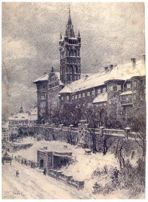 Königsberg (Pr.), Schloß im Winter, Radierung