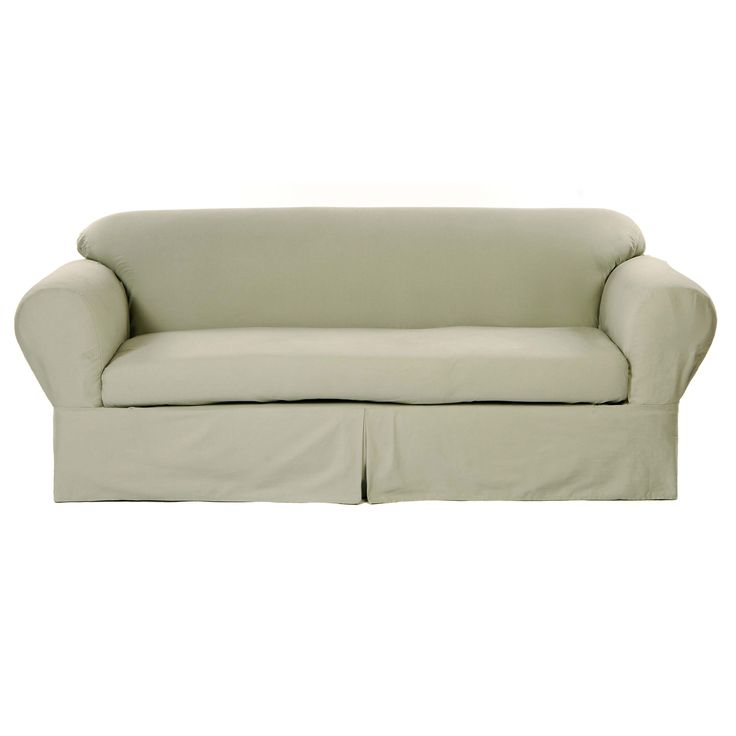 Spruce up the seating options in your home when you add this handsome two-piece loveseat slipcover. The tough cotton twill material can handle anything your pets or kids can throw at it, while the two-piece construction makes the cover easy to put on.