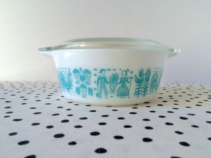 Vintage Pyrex Butterprint 472 Casserole Dish, Amish Butterprint, Turquoise Butterprint, Pyrex 472, 1950s Pyrex, Turquoise Pyrex Casserole by ForestHillsVintage on Etsy
