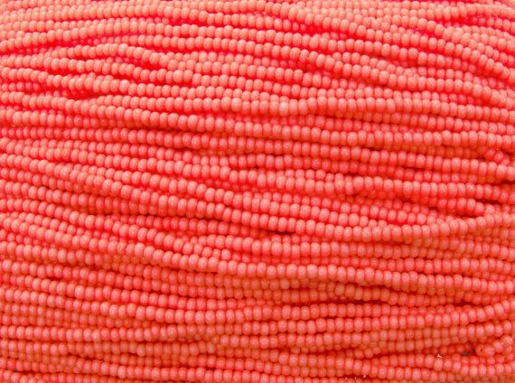 8/0 SOL GEL Opaque Coral Glass Seed Bead Strand by beadsandbabble