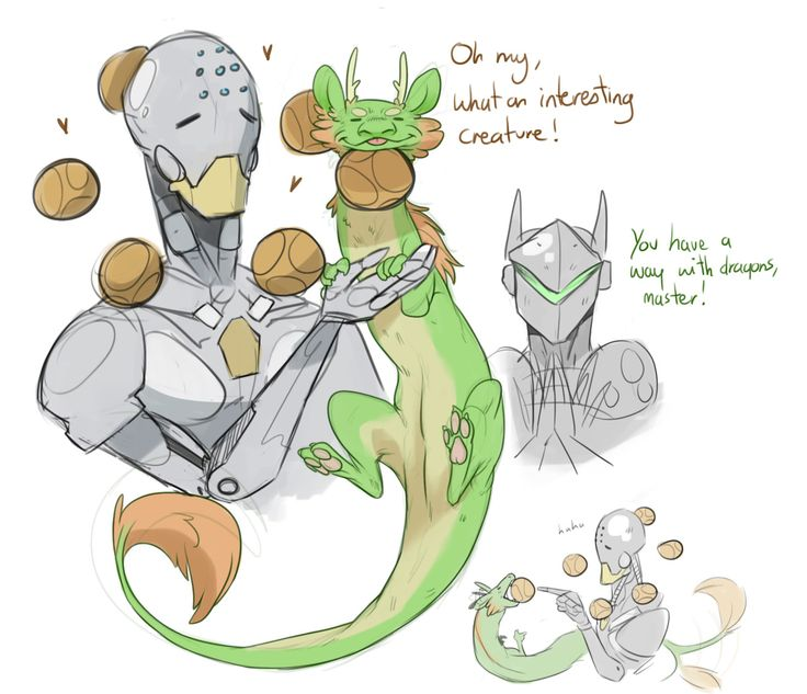 @leonshardt and @ekwivek, thank you for the cute messages! These doodles are for you : > Zenyatta is probably so good with Genji and Hanzo's dragons, such an aura of harmony ~