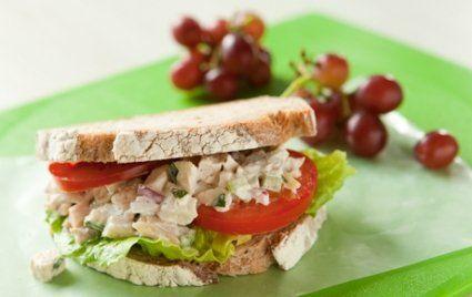 Tarragon Chicken Salad Sandwiches. Could also serve on bibb lettuce or Flatouts.
