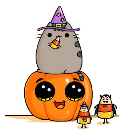 Pusheen Cat On Pumpkin With Candy Corn