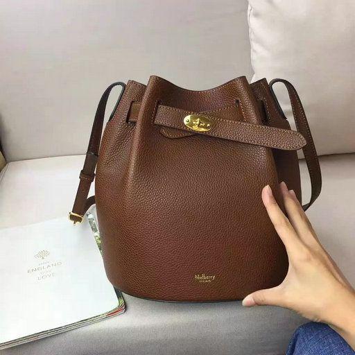 2017 Spring Mulberry Abbey Bucket Bag in Oak Grain Leather