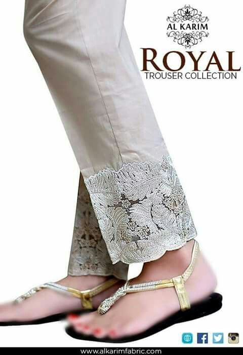 Beautiful Lace detail on #Desi, #Pakistani Pants w/ flats chappal. alkarimfabric.com via @sunjayjk