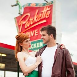 If you'll loved Grease you'll LOVE this retro, 1950s diner engagement shoot - leather jacket, red lips & vintage curls! #weddinggawkerChic 1950S, 50S Photography Ideas Vintage, 1950S Diners, 1950S Engagement, Leather Jackets, Engagement Shoots, Diners Engagement, 1950S Retro, Retro 1950S
