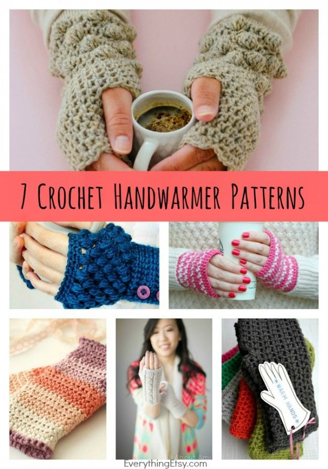 DIY Crochet Handwarmer Patterns {7 Free Designs} - EverythingEtsy.com #crochet #pattern