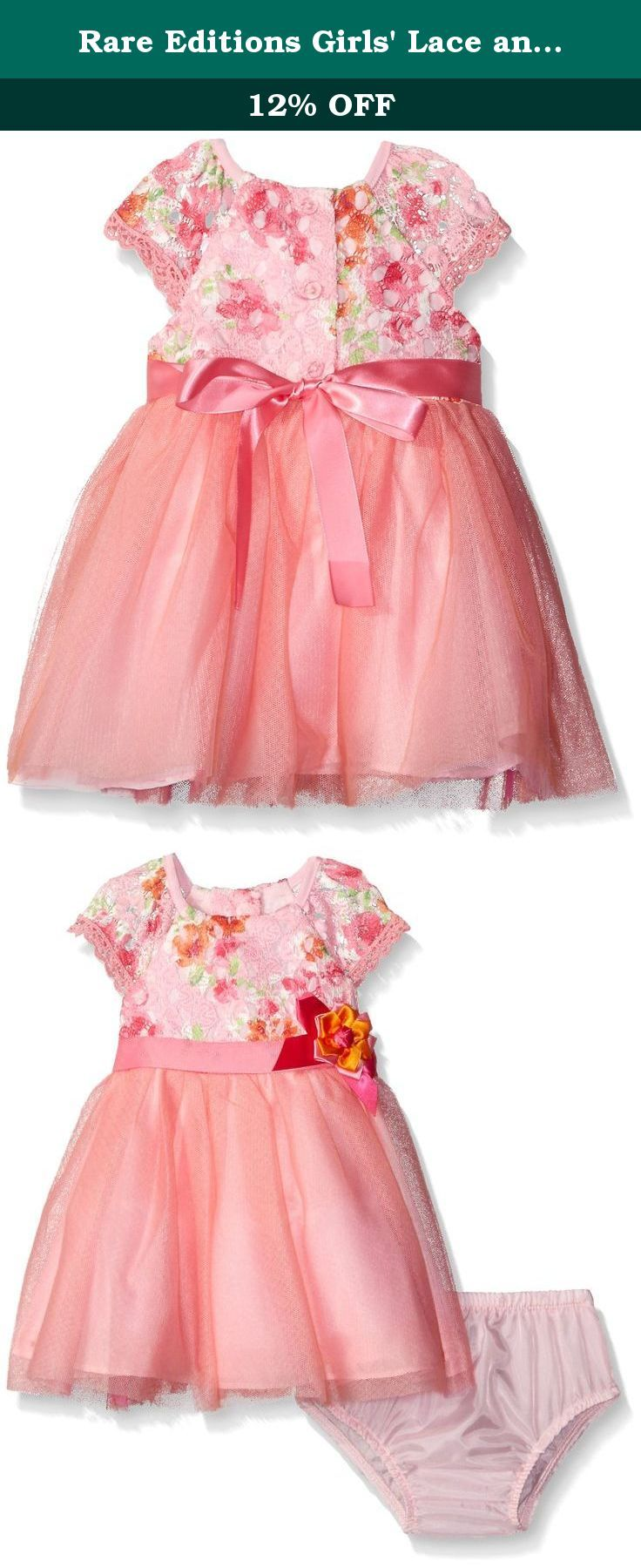 Rare Editions Girls' Lace and Mesh Special Occasion Dress, Pink/Orange, 3 Months. Pink/orange lace bodice to pink mesh social dress with panty.
