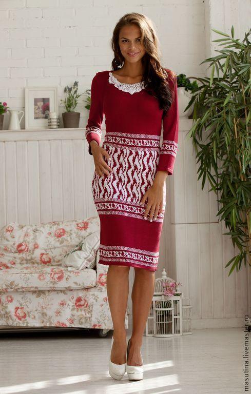 """Купить Платье """"Любимая помада"""" - ярко-красный, красное платье, Жаккардовый узор, вязаное платье"""