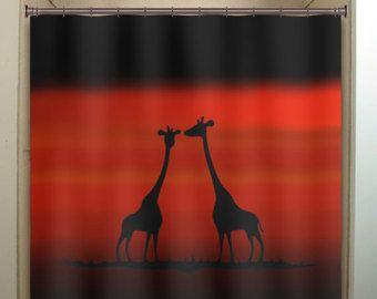 Red Sunset Giraffes Shower Curtain Bathroom Decor Fabric Kids Bath Window  Curtains Panels Bathmat Valance
