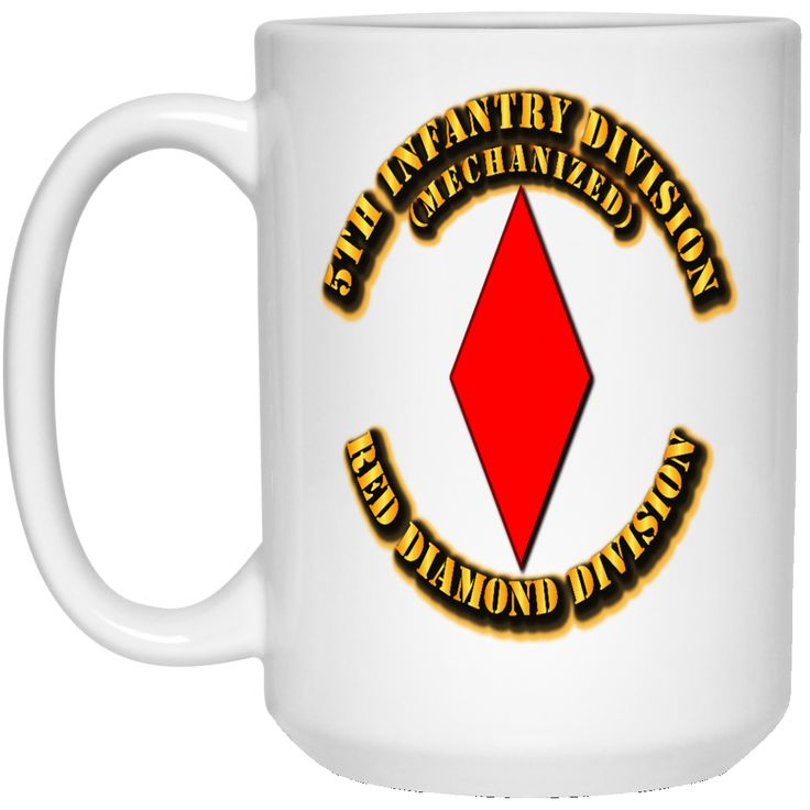 5TH INFANTRY DIVISION RED DIAMOND DIVISION BY TWIX123844 21504 15 oz. White Mug