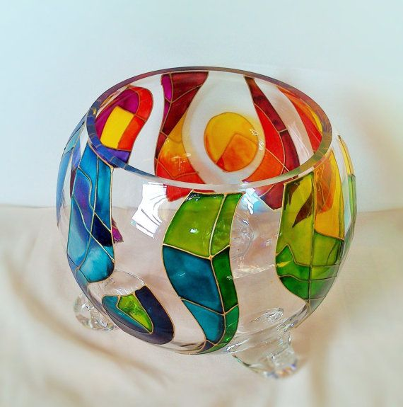 Hand painted Bowl Rainbow by Vitray on Etsy