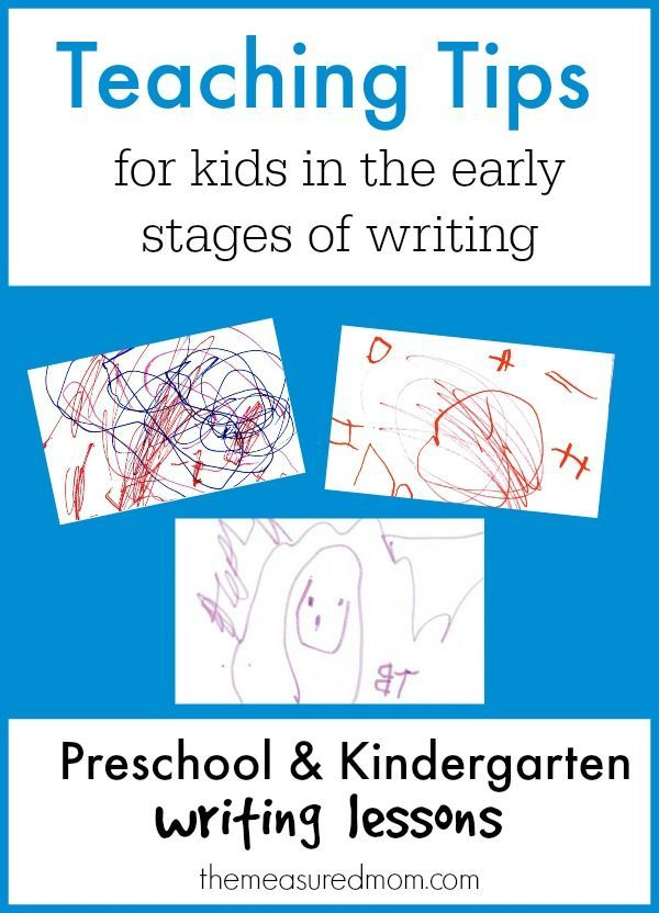This post describes the stages of writing development for preschool and kindergarten - with teaching tips for each one!