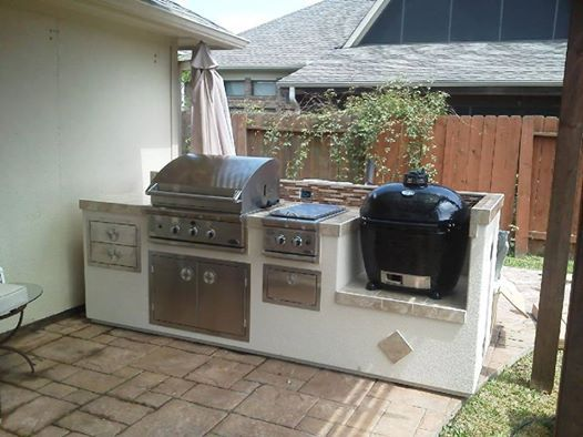 Counter With Both A Gas Grill & A Primo Charcoal Grill.