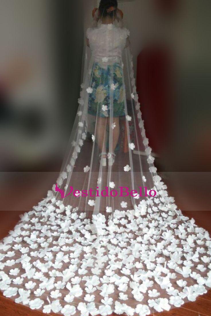Magnífica Catedral Uno-Tier Velos de novia con flores hechas a mano