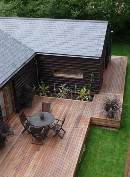 wooden deck, modern back yard #woodendeck #Design #Decor