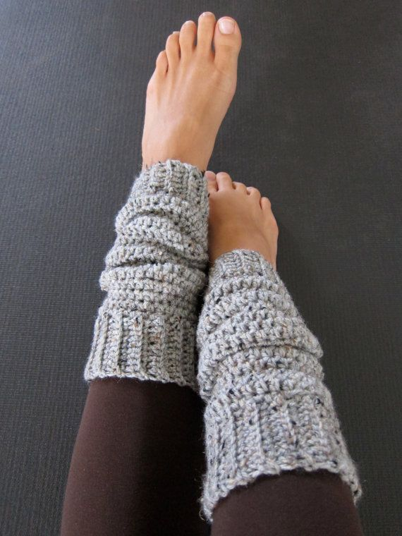 Cozy Grey Crochet Leg Warmers by ajalove on Etsy