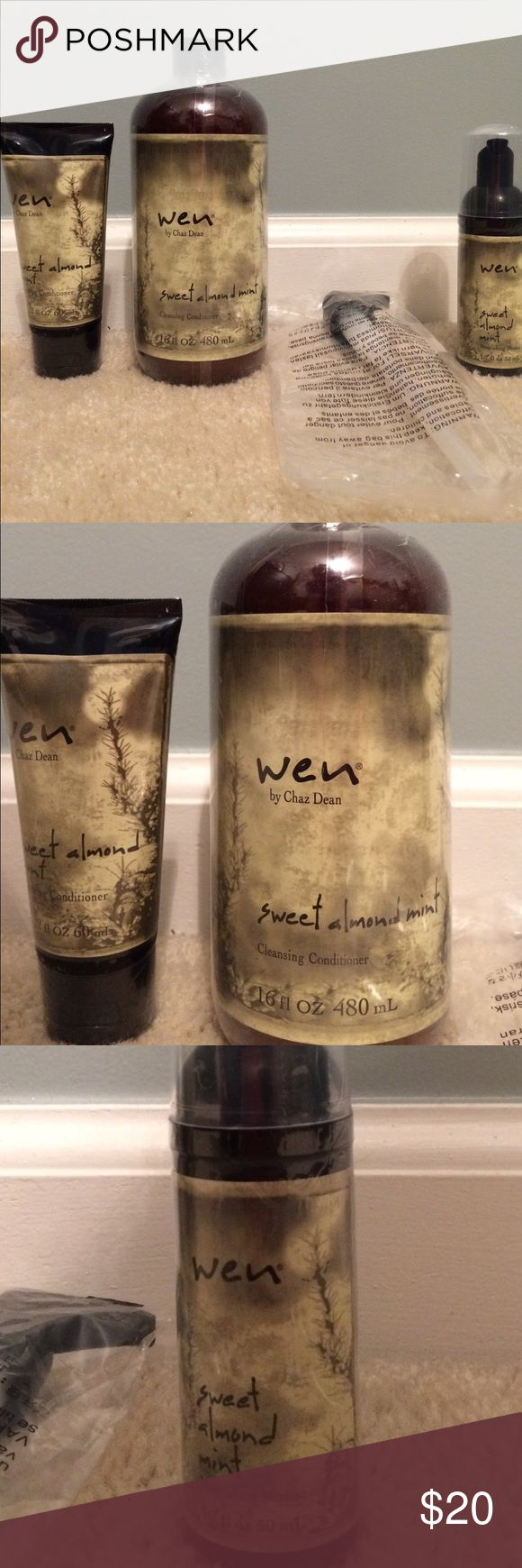 Wen hair care Sweet almond mint cleansing conditioner, pump, small travel size cleansing conditioner and mousse. Smells great, easy to use. Don't have to use shampoo and conditioner... it's all in one. wen Other