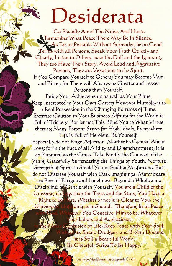 desiderata   Desiderata Poem Surrounded By Poppies Mixed Media - Desiderata Poem ...