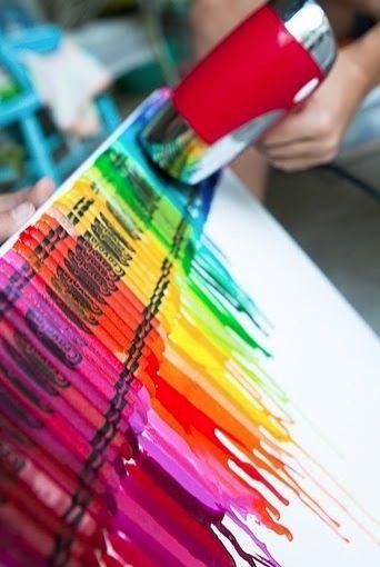 Basteln mit Kindern . Bild aus Wachsmalern . Leinwand Host-It Notes: Crafty Crayon Projects