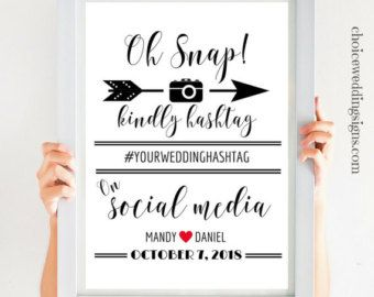 Hashtag signo rústico de boda boda muestra oh por WeddingAffections
