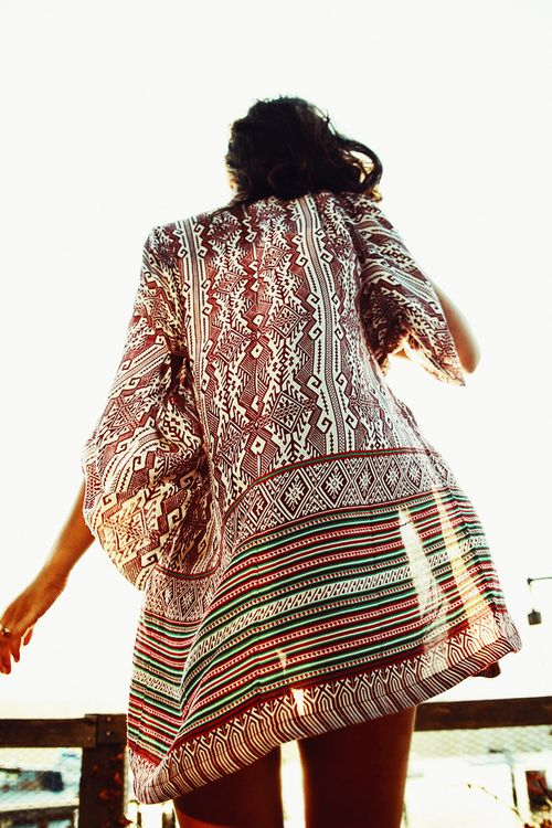 Ethnic tribal inspired beach swimsuit cover up, modern hippie style open dress. For the BEST Bohemian fashion & Boho chic style trends FOLLOW http://www.pinterest.com/happygolicky/the-best-boho-chic-fashion-bohemian-jewelry-gypsy-/