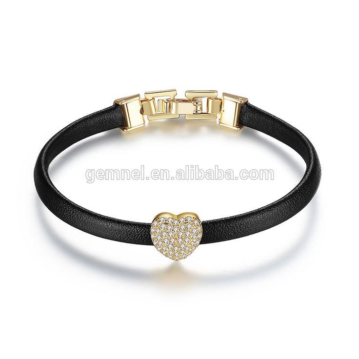 wholesale hot sale cheap women gold plated elegant leather bracelet with zircon stone